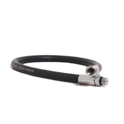 Rubber HP hose black (7/16 in male to female UNF thread)